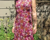 SALE Beautiful Vintage Orange and Pink 1960s Daisy Flower Power Boho Sleeveless Shift Dress