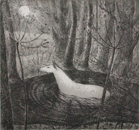 Crossing the water, etching by Flora McLachlan, horse, river, pool, moon, night, passage, transition, travel, trees, seedheads
