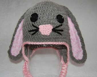 Bunny Rabbit Hat for Baby Girl in Gray Alpaca with Pink Trim size Newborn to 3 Months