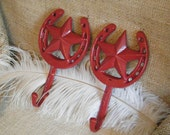 Wall Hooks Red Horseshoe and Lone star - Set of 2 - Cast Iron - Jewelry Holder-Towel / Robe Hook -Country Western Decor