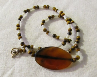"""Carnelian, Mother of Pearl, Tigers Eye, Sterling 18"""" Necklace - Handcrafted, OOAK"""