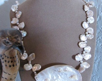 Seafoam -  ooak  Keishi Pearl Necklace of genuine reclaimed Pearls and Blister Shell