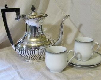 Sango Grey Mist  // Pair Teacups and Saucers // Japan