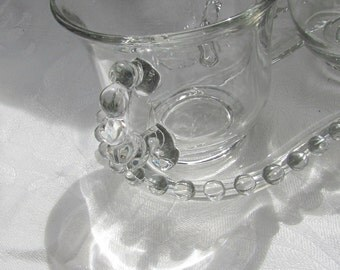 Vintage Clear Glass Creamer, Sugar, Tray // Hobnail // Candlewick