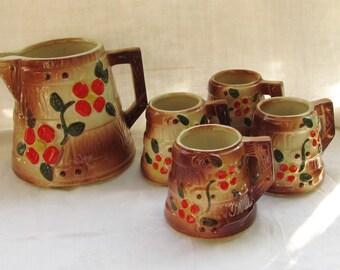 Glazed ceramic  Barrel Pitcher and Mug set  // Berry Branch - USA Made