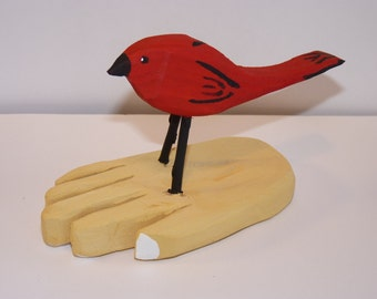 John Lynch, A Bird in the Hand, Wood Wormy Maple Carving, Primitive Folk Art RedBird, and a Simple Hand b3