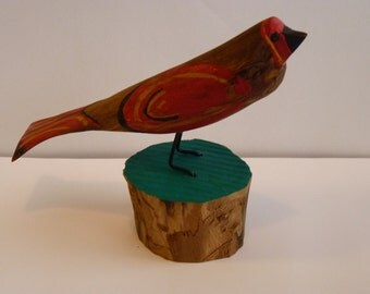 John Lynch, Folk Art Wooden Bird Carving Primitive Rustic Style using Maple complete with mossy stump b3