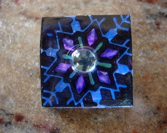 Snowflake in Purple, black and blue 1x1 galss hand painted tile pin