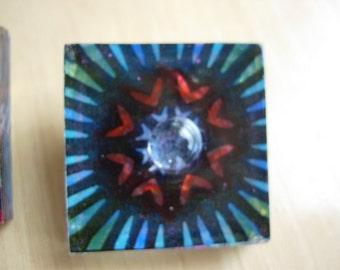 handpainted glass snowflake pin