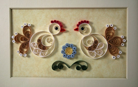 Framed Quilled Chickens, White and Tan Paper Hens, Blue Flower, Country Decor