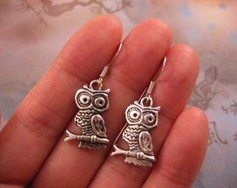 On Sale Today - Owl Earrings - Tibetan Silver Owl Charm, Small, Lightweight - Clearance