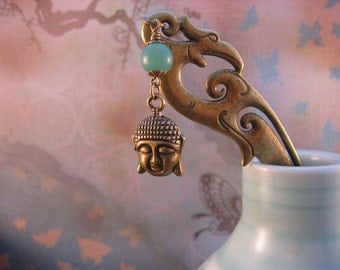 Buddha Bookmark - Antiqued Bronze Buddha Head Charm, Green Jade, Chinese Hairpin Bookmark