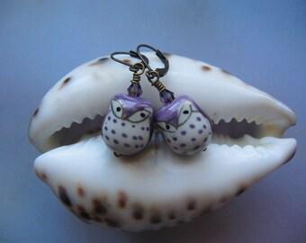 Owl Earrings - Purple Porcelain Owl, Vintage Antiqued Look, Great Owl Gift