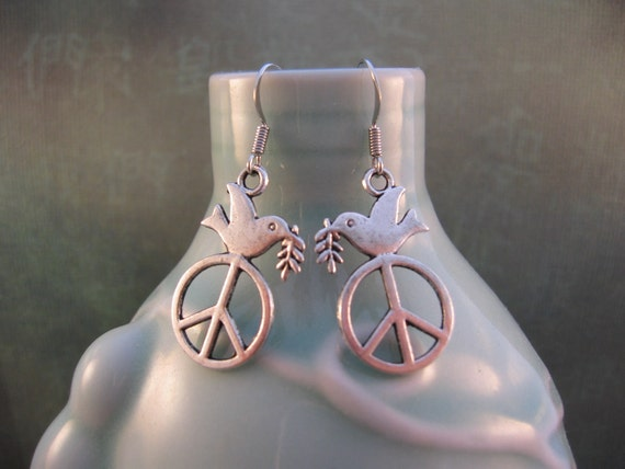 Dove & Peace Sign Earrings - Tibetan Silver Double Sides Charm - Peace Dove Earrings - Peace Dove Jewelry