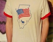 Vintage 1988 Illinois Democratic National Convention Ringer T Shirt