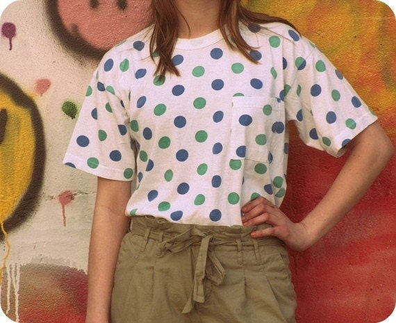 Retro 80s Polka Dot T Shirt