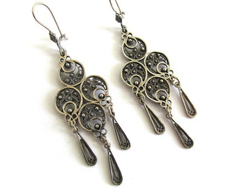 Sterling Silver, Ethnic Chandelier Earrings - ID92