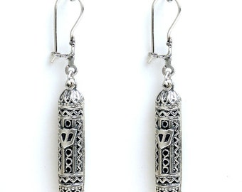Mezuzah Earrings, 925 Sterling Silver  - Judaica - ID58