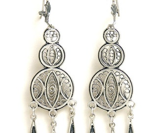 Ethnic Chandelier Earrings, 925 Sterling Silver, Filigree, Artisan Women Earrings  - ID11