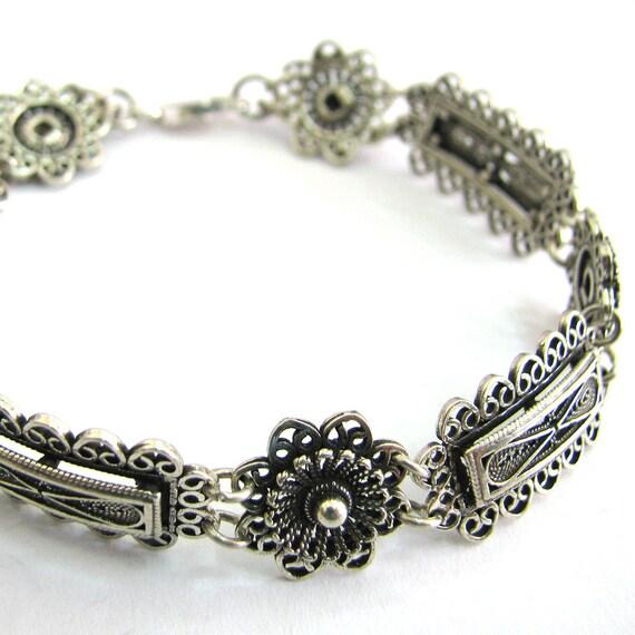 Sterling Silver Bracelet, Filigree, Ethnic, Woman Jewelry  - ID300