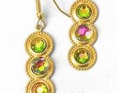 Colorful Upcycled Handmade Dangle Earrings, rhinestone dangle earrings, colorful earrings, upcycled earrings, recycled rhinestones, unique