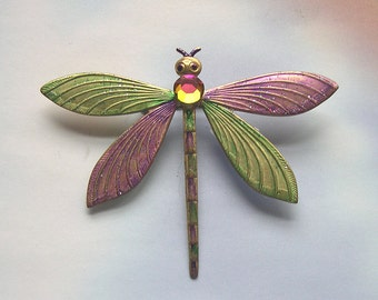 Colorful Dragonfly Brooch, dragonfly jewelry, handmade, handpainted, upcycled, rhinestones, dragonfly jewellery