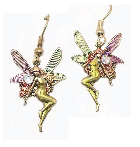 Hand Painted Handmade Unique Tinkerbell Fairy Earrings, Fey earrings, Tinkerbell earrings, upcycled, recycled, fantasy, mystical, colorful