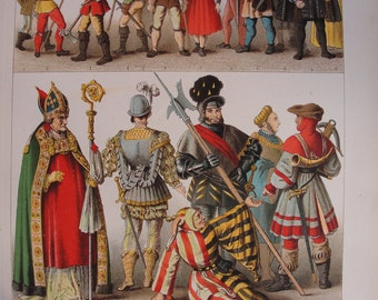 Chromolithograph- set of four -Vintage German Fashion