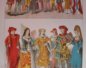 Chromolithograph -set of four -vintage French fashion pages