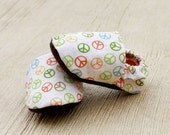 0 3 6 12 18 months Handmade Peace Baby Organic Shoes- Baby Booties In Rainbow Colors Children Clothing Eco Friendly- Baby Clothes