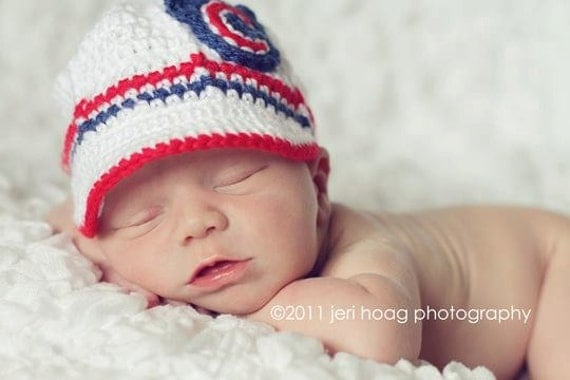 Chicago Cubs Inspired Crocheted Baseball Cap (Newborn - Children Size) (Made to Order)