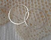 Silver Hoop Sterling Earrings Hand Forged, Handmade