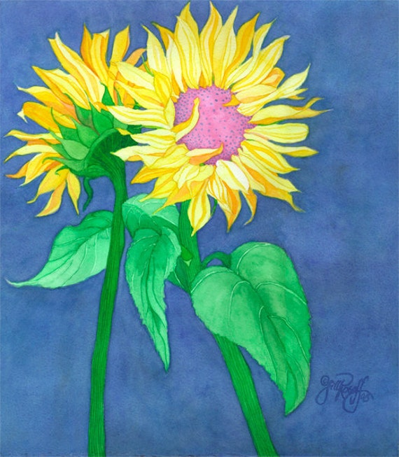 """Original Watercolor """"Two Sunflowers on Rich Blue"""""""