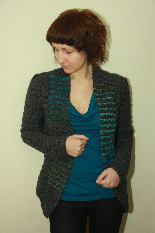 Crochet Pattern Jacket Cardigan : Crochet Jacket Pattern PDF London Cardigan sizes XS to XL