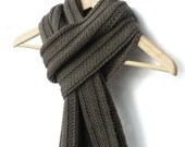 Knitted camel scarf in truffle brown colour
