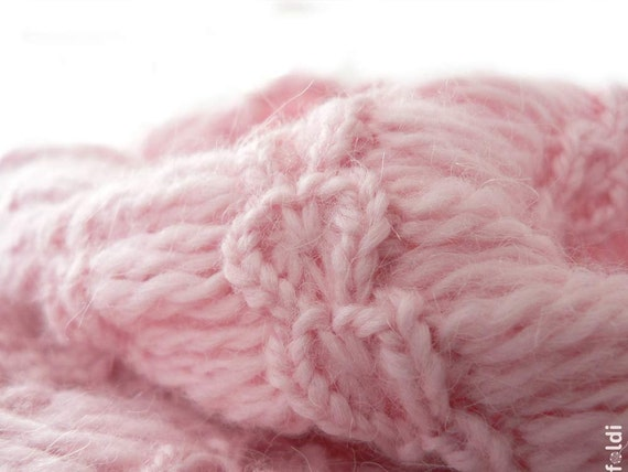 Knitted angora blend cowl in light pink colour 'Hearts'