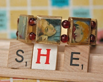 Scrabble Tile Bracelet Featuring Images from Fine Art Paintings by Renoir, Chagall, Degas, Matisse and More