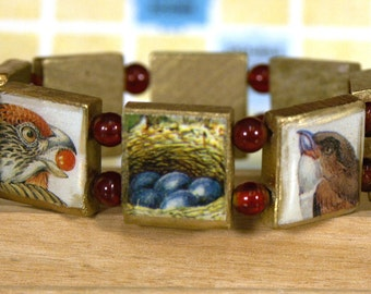 Bird Bracelet Made from Wooden Scrabble Tiles -- Won't Ruffle Your Feathers