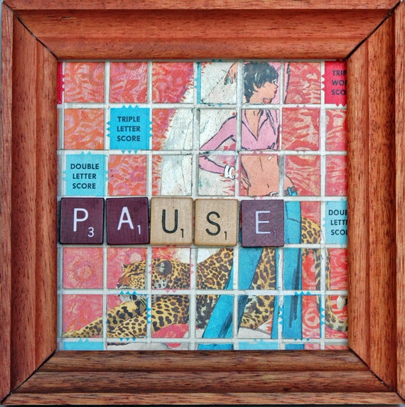"""Scrabble Board Wall Art with Vintage Fashion Figure, Animal, Tiles, Letter racks -- """"Paws Pause"""""""