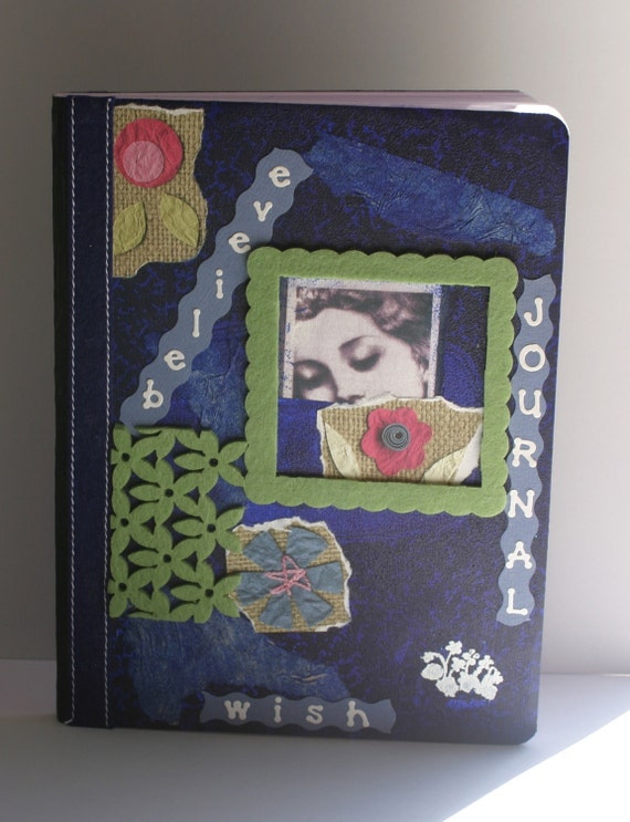 Journal - Altered Composition Notebook - Flower - Dream - Believe