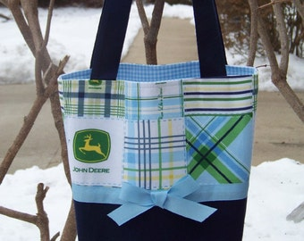 Diaper Bag Handcrafted with John Deere Blue and Green Plaid Patchwork Fabric - Made to Order - Personalization included