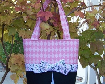 Pink Harlequin Print and Black Purse Tote Book Bag Embroidered with Eiffel Tower - Can be Personalized