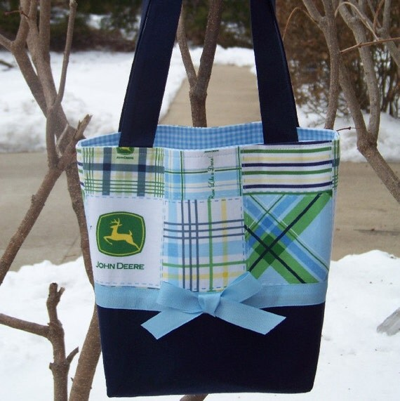 Handcrafted Bag Made with John Deere Blue and Green Plaid Patchwork Fabric - Personalization Included