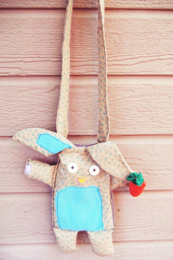 BUNNY RABBIT Fabric Purse - A Delightful Mix of Vintage and New Materials