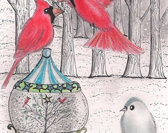 Cardinal Winter - set of (3) - holiday greeting card - Red Birds - Christmas Cards - Christmas Decor - Winter Red Birds - White Christmas -