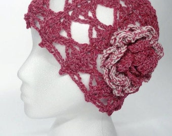 Lacy Crochet Hat Vintage Style Cardinal Red Crocheted Hat With Flower Ready to ship