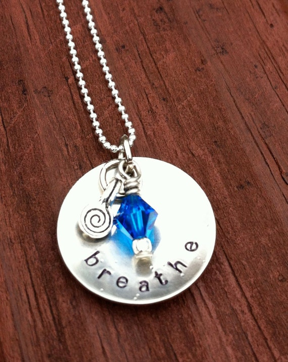 BREATHE hand stamped necklace swarovski crystal and spiral dangle on sterling silver