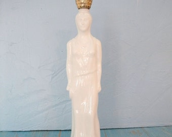 Avon White Milk Glass Bottle / Vintage Avon Grecian Lady Bath Oil Bottle / Milk Glass Collectible Bottle