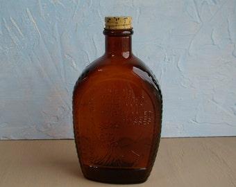 Vintage Brown Bottle / Log Cabin Syrup Vintage 1776 - 1976 Bicentennial Collectible Brown Embossed Glass Bottle