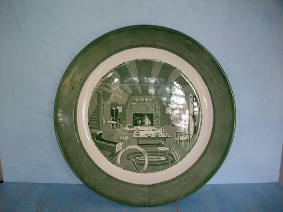 Royal Colonial Homestead Green Vintage Scene Platter, Green Transferware, Kitchen Decor, Decorative Plate